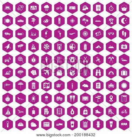 100 tourist trip icons set in violet hexagon isolated vector illustration