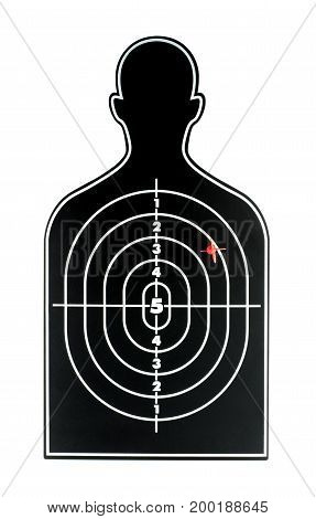 Black Human Shape Dart Board With Red Arrow On White Backgroud