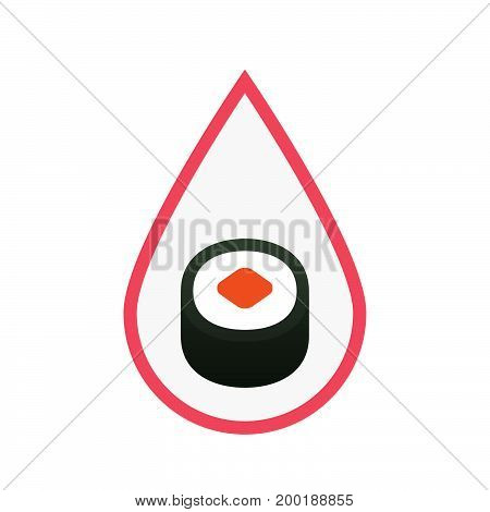 Isolated Blood Drop With A Piece Of Sushi Maki