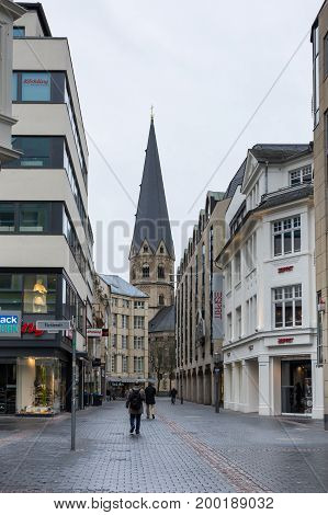 BONN GERMANY - FEBRUARY 21 2016: Street of Bonn a city on the banks of the Rhine in the German state of North Rhine-Westphalia Germany