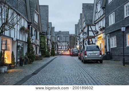 FREUDENBERG GERMANY - FEBRUARY 21 2016: Half-timbered houses of Freudenberg a town in North Rhine-Westphalia Germany