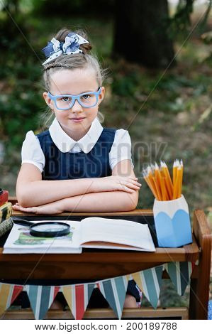 Portrait of a beautiful young first-grader sitting at a desk on the background autumn park. Farewell Bell. day of knowledge. beginning of the school year. school equipment pencils book glass desk.