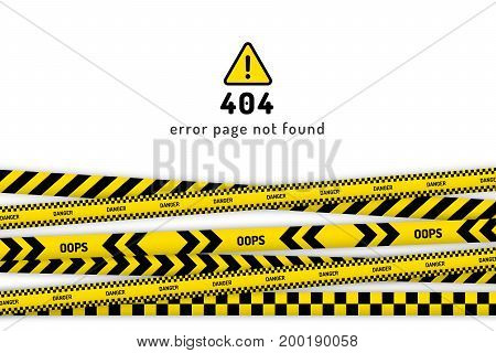 404 website page not found with black and yellow striped borders vector illustration. Border stripe web, warning banner template. 404 error page not found.