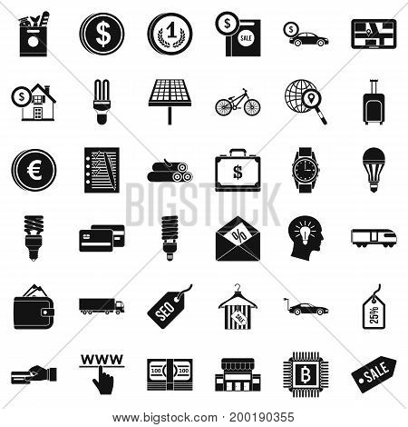 Good economy icons set. Simple style of 36 good economy vector icons for web isolated on white background