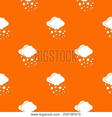 Cloud with hail pattern repeat seamless in orange color for any design. Vector geometric illustration