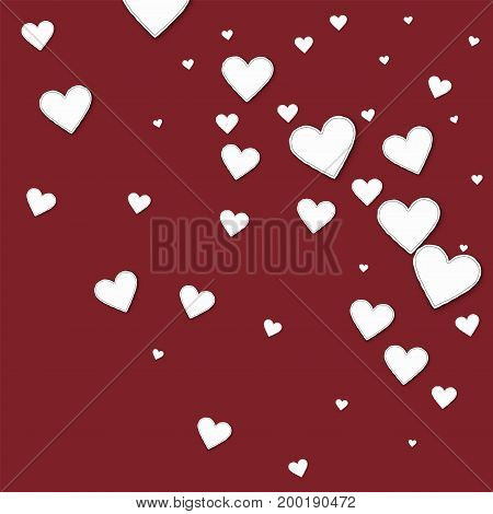 Cutout Paper Hearts. Random Gradient Scatter On Wine Red Background. Vector Illustration.