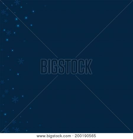 Sparse Glowing Snow. Abstract Left Border On Deep Blue Background. Vector Illustration.
