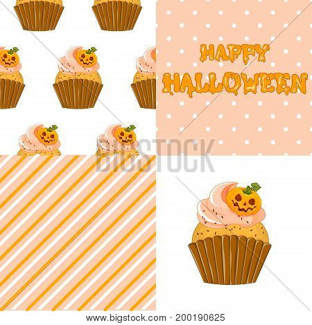 Stock vector. Sweet cupcake on the occasion of Halloween. Set for your design.
