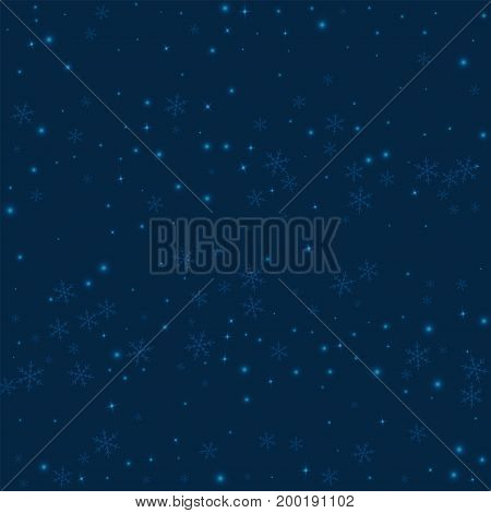 Sparse Glowing Snow. Scatter Horizontal Lines With Sparse Glowing Snow On Deep Blue Background. Vect