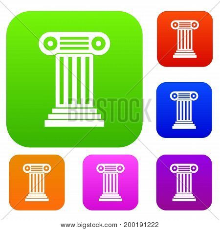 Roman column set icon in different colors isolated vector illustration. Premium collection