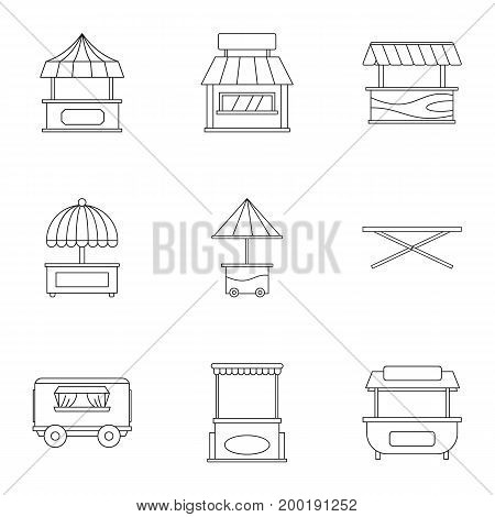 Street stall icon set. Outline style set of 9 street stall vector icons for web isolated on white background