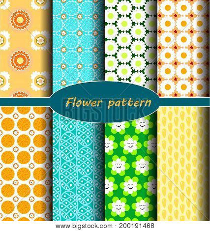set geometric theme and seamless floral pattern.