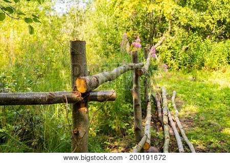The fence is handmade from tree trunks. The rural design of the fence site. Fence for the cattle in the village.