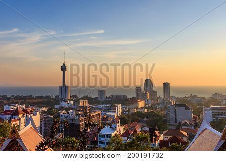 Beautiful evening view of rooftops in Pattaya, Thailand