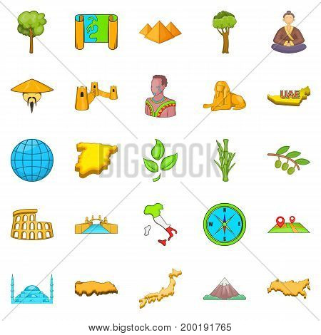 Planet Earth icons set. Cartoon set of 25 planet earth vector icons for web isolated on white background