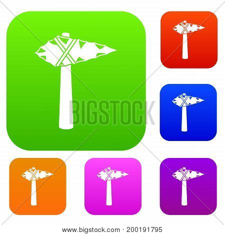 Ancient hammer set icon in different colors isolated vector illustration. Premium collection