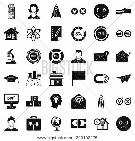 Internet learning icons set. Simple style of 36 internet learning vector icons for web isolated on white background