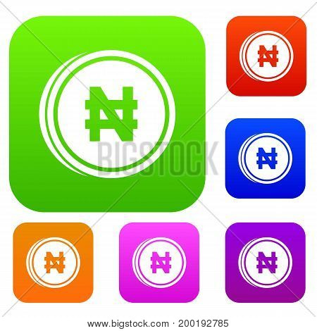 Coin naira set icon in different colors isolated vector illustration. Premium collection