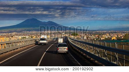 NAPOLI ITALY - NOVEMBER 72016 : vesuvius valcano and traffic in a-one important highway in napoli south italy