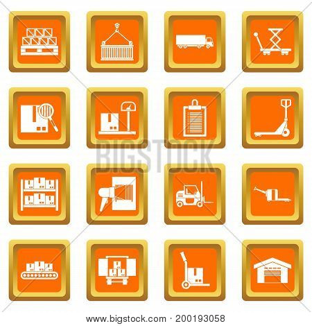 Logistic icons set in orange color isolated vector illustration for web and any design