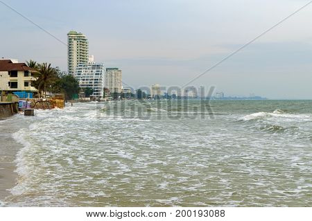 Hua Hin Beach At High Tide. Resort Hotels Are On The Coast, Thailand