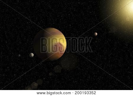 Large gas giant planet with two moons and a smaller planet orbiting nearby star. Outer Space Cosmic Art and Science Fiction Concept.