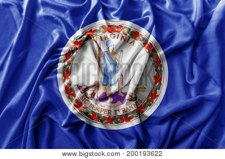 Ruffled waving United States Virginia flag national