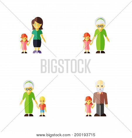 Flat Icon People Set Of Grandma, Grandpa, Daugther Vector Objects
