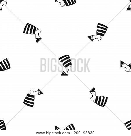 The head of the Egyptian queen pattern repeat seamless in black color for any design. Vector geometric illustration