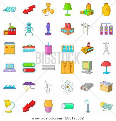 Electricity lamp icons set. Cartoon style of 36 electricity lamp vector icons for web isolated on white background