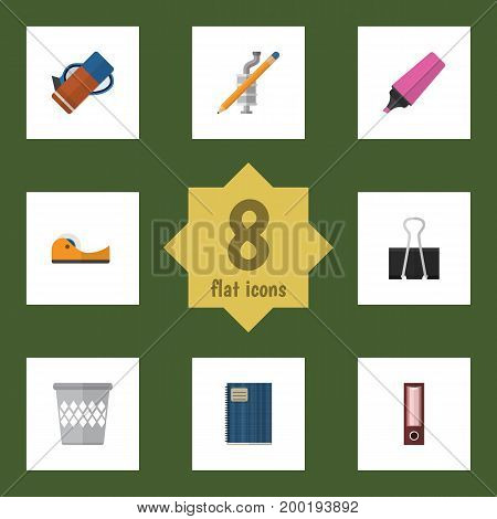 Flat Icon Stationery Set Of Dossier, Paper Clip, Trashcan And Other Vector Objects