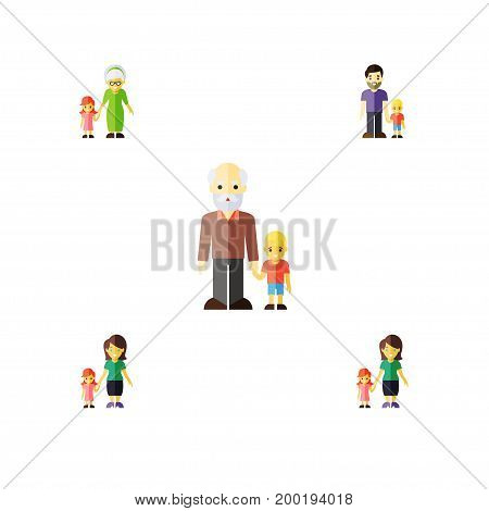 Flat Icon People Set Of Grandchild, Daugther, Mother Vector Objects