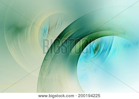 Abstract Green, Blue And Yellow Swirly Lines. Fantasy Fractal Background. Psychedelic Digital Art. 3