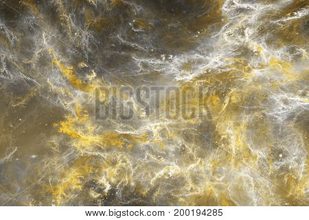 Abstract Marble Texture. Fractal Background In Golden And Grey Colors. Fantasy Digital Art. 3D Rende