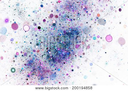 Abstract Colorful Blue And Purple Bokeh On White Background. Fantasy Fractal Texture. Digital Art. 3