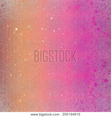 Abstract Glittering Texture With Sparkles On White Background. Orange And Pink Gradient. Fantasy Fra