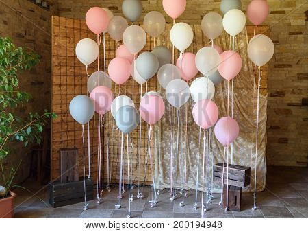 Wedding Or Birthday Photo Zone With White, Pink And Gray Balloons In Front Of Wooden Screen, Free Sp
