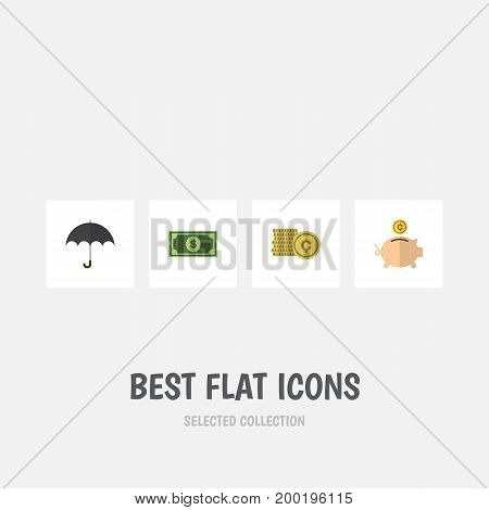 Flat Icon Incoming Set Of Cash, Money Box, Parasol And Other Vector Objects