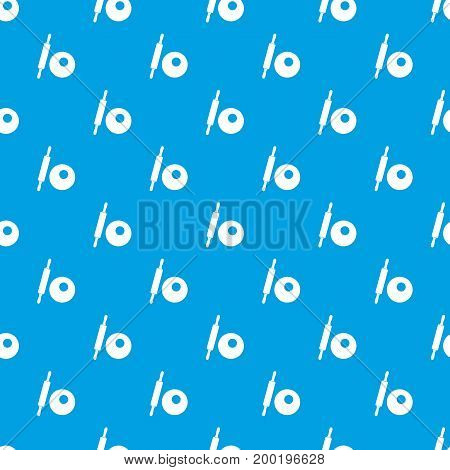 Rolling pin and dough pattern repeat seamless in blue color for any design. Vector geometric illustration