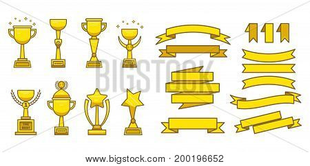 Gold awards cups medals set. Collection of golden trophies, cups, ribbons, statues for designers. A lot of awards and ribbons. vector for banner, poster, web. Isolated signs on the white background