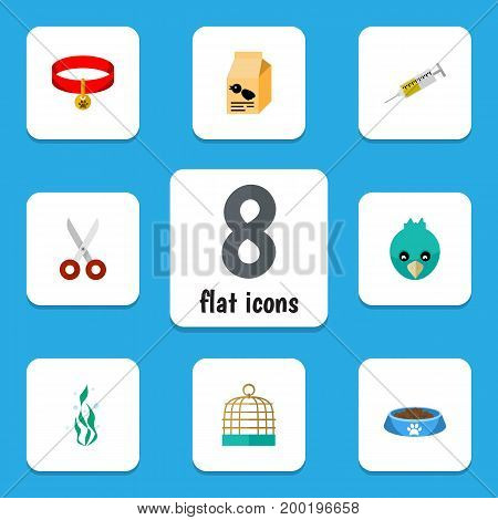 Flat Icon Animal Set Of Bird Prison, Seaweed, Nutrition Box And Other Vector Objects