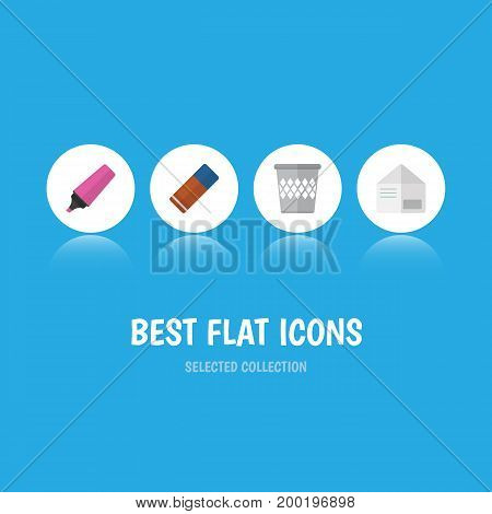 Flat Icon Stationery Set Of Trashcan, Marker, Rubber And Other Vector Objects