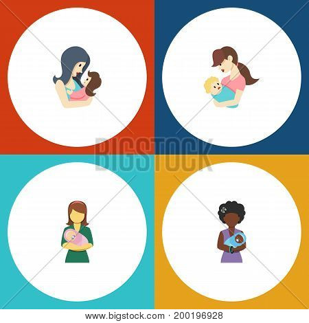 Flat Icon Parent Set Of Mam, Woman, Child And Other Vector Objects