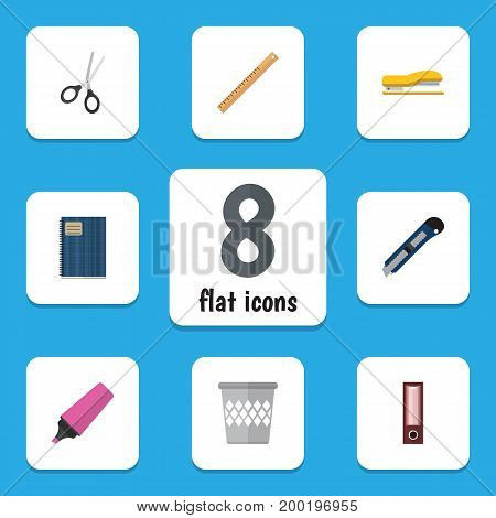 Flat Icon Equipment Set Of Straightedge, Clippers, Trashcan And Other Vector Objects