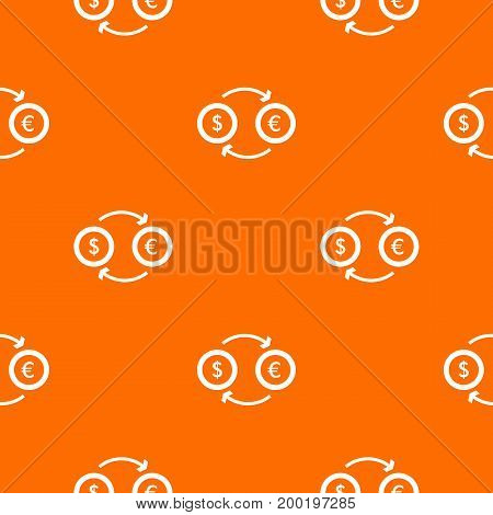 Euro dollar euro exchange pattern repeat seamless in orange color for any design. Vector geometric illustration