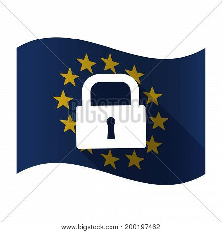 Isolated Eu Flag With A Closed Lock Pad