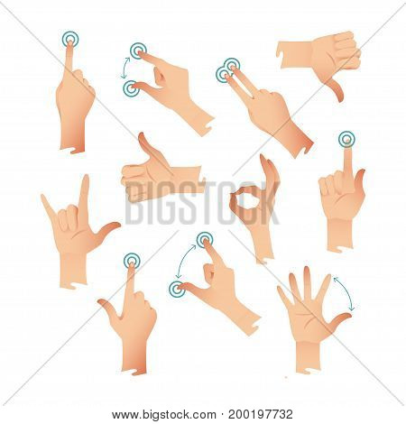 Set of human hands applause tap helping action gestures. Vector illustration for your design