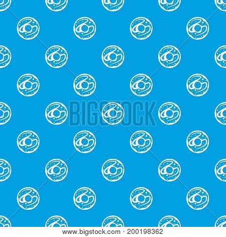 Glazed donut pattern repeat seamless in blue color for any design. Vector geometric illustration