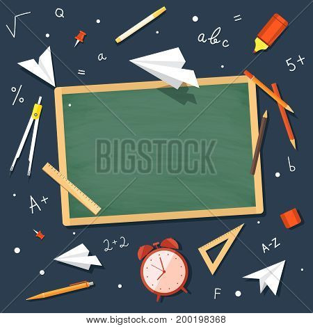 Concept education. Back to school. Set school supplies with space for writing. Vector illustration.