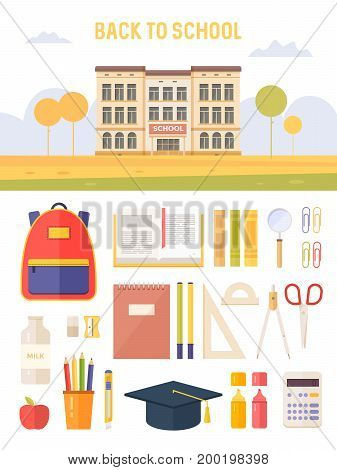 Concept education. Back to school. Set school supplies: school building, pencil, pen, backpack, calculator, notebooks, textbooks.  Vector illustration.